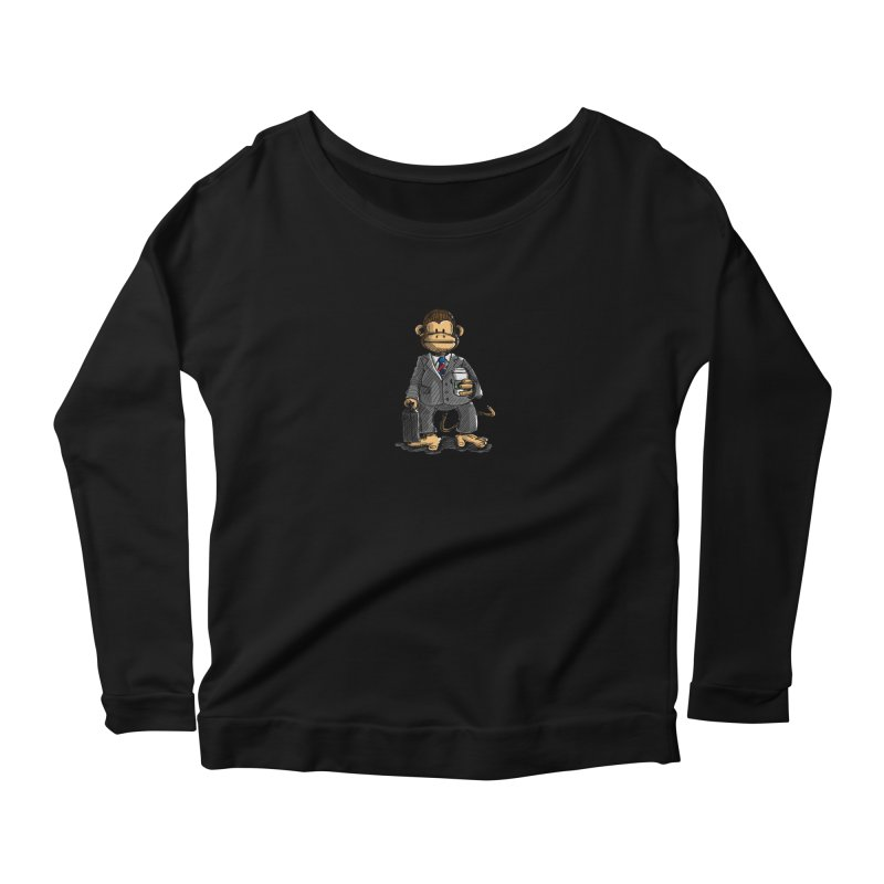 The Business Monkey drinks a Coffee to go Women's Scoop Neck Longsleeve T-Shirt by Illustrated Madness