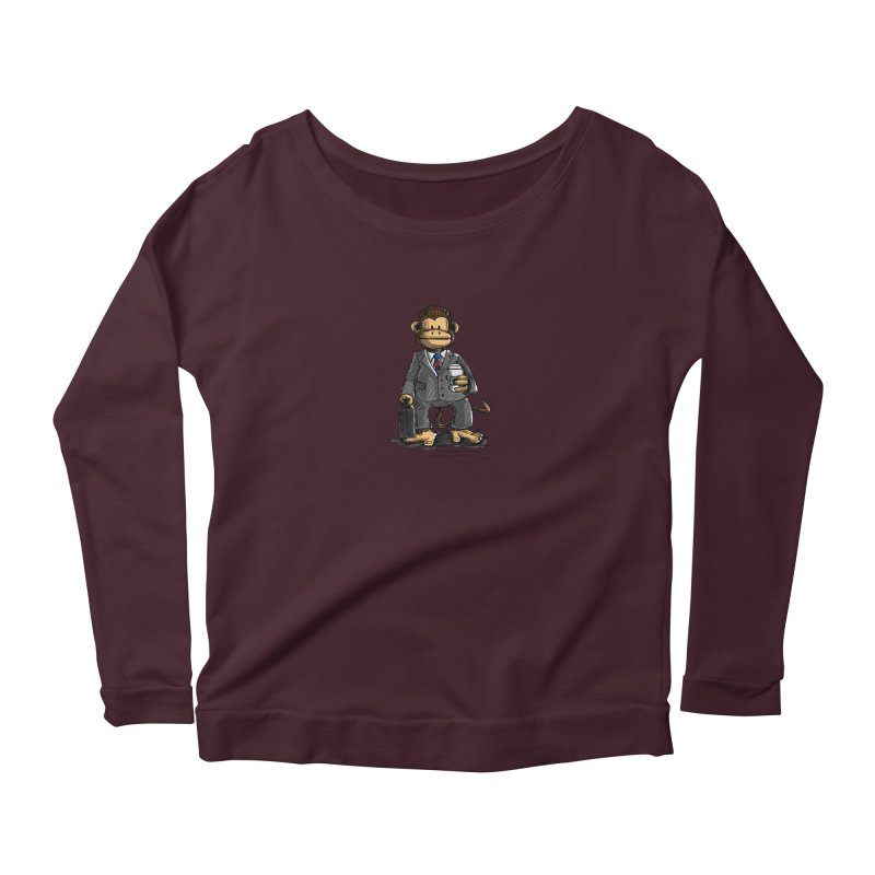The Business Monkey drinks a Coffee to go Women's Longsleeve Scoopneck  by Illustrated Madness