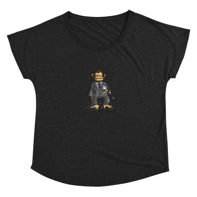 The Business Monkey drinks a Coffee to go Women's Scoop Neck by Illustrated Madness