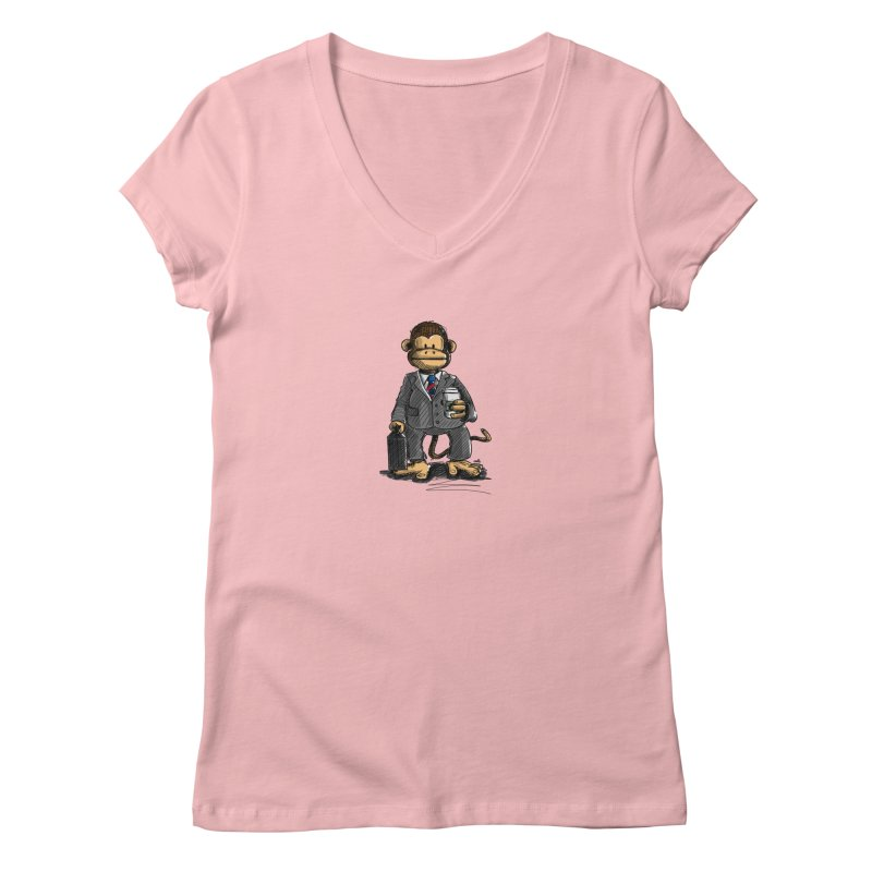 The Business Monkey drinks a Coffee to go Women's Regular V-Neck by Illustrated Madness