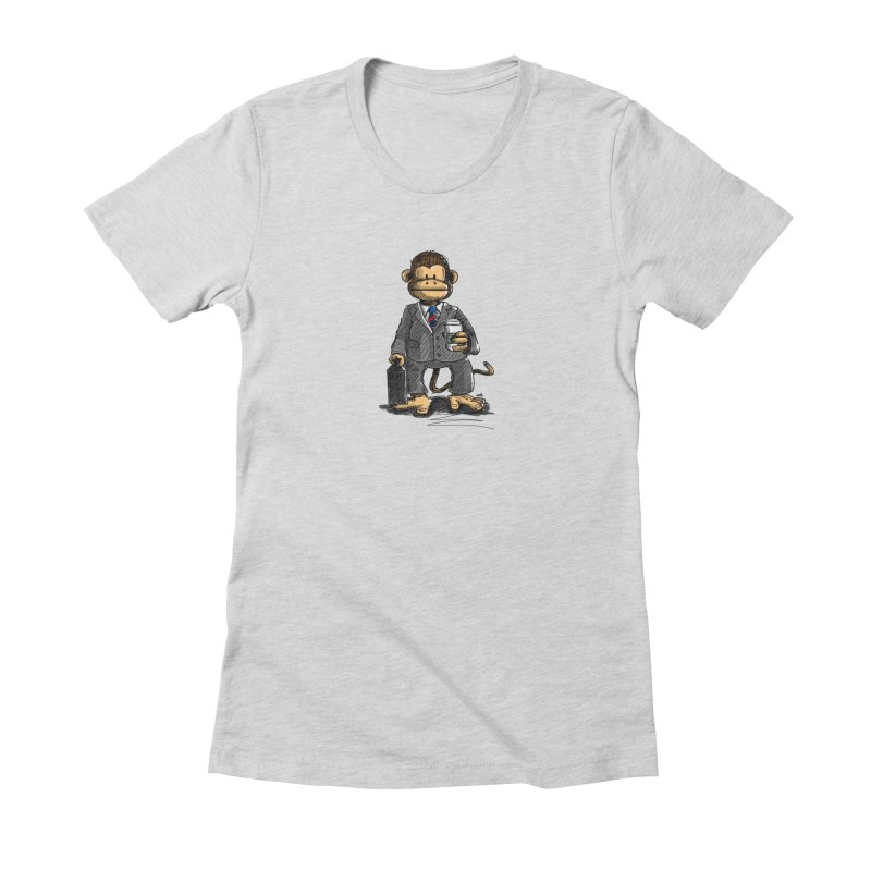 The Business Monkey drinks a Coffee to go Women's T-Shirt by Illustrated Madness
