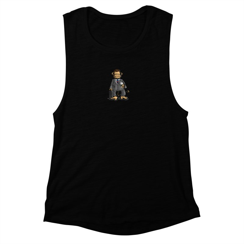 The Business Monkey drinks a Coffee to go Women's Muscle Tank by Illustrated Madness