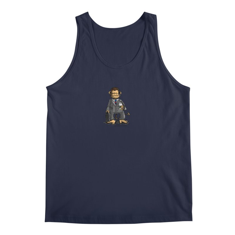 The Business Monkey drinks a Coffee to go Men's Regular Tank by Illustrated Madness