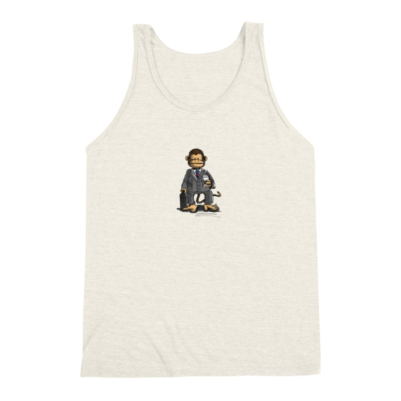 The Business Monkey drinks a Coffee to go Men's Triblend Tank by Illustrated Madness