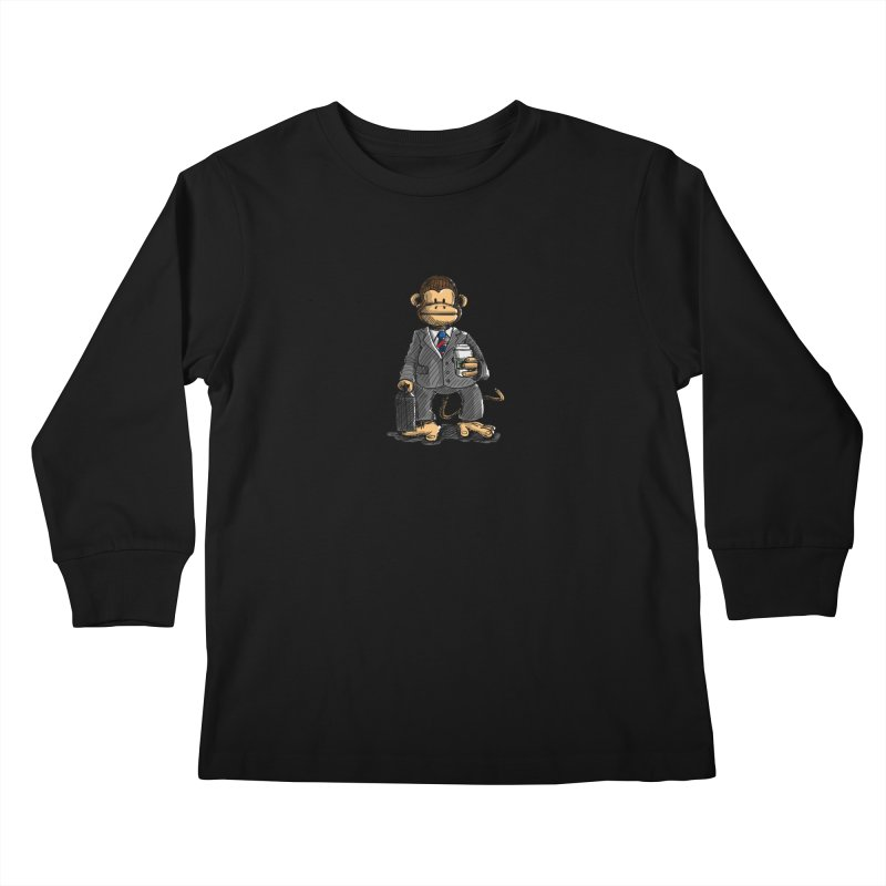 The Business Monkey drinks a Coffee to go Kids Longsleeve T-Shirt by Illustrated Madness