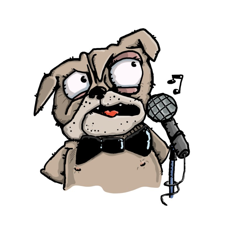 The Pug sings that old jazzy Tune. My Way in New York. Home Mounted Acrylic Print by Illustrated Madness