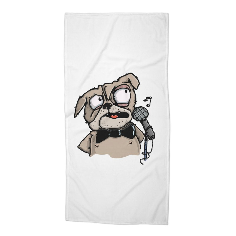 The Pug sings that old jazzy Tune. My Way in New York. Accessories Beach Towel by Illustrated Madness