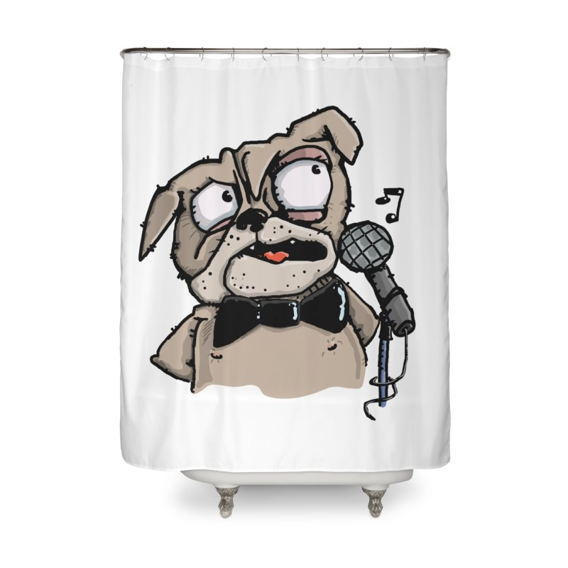 The Pug sings that old jazzy Tune. My Way in New York. Home Shower Curtain by Illustrated Madness