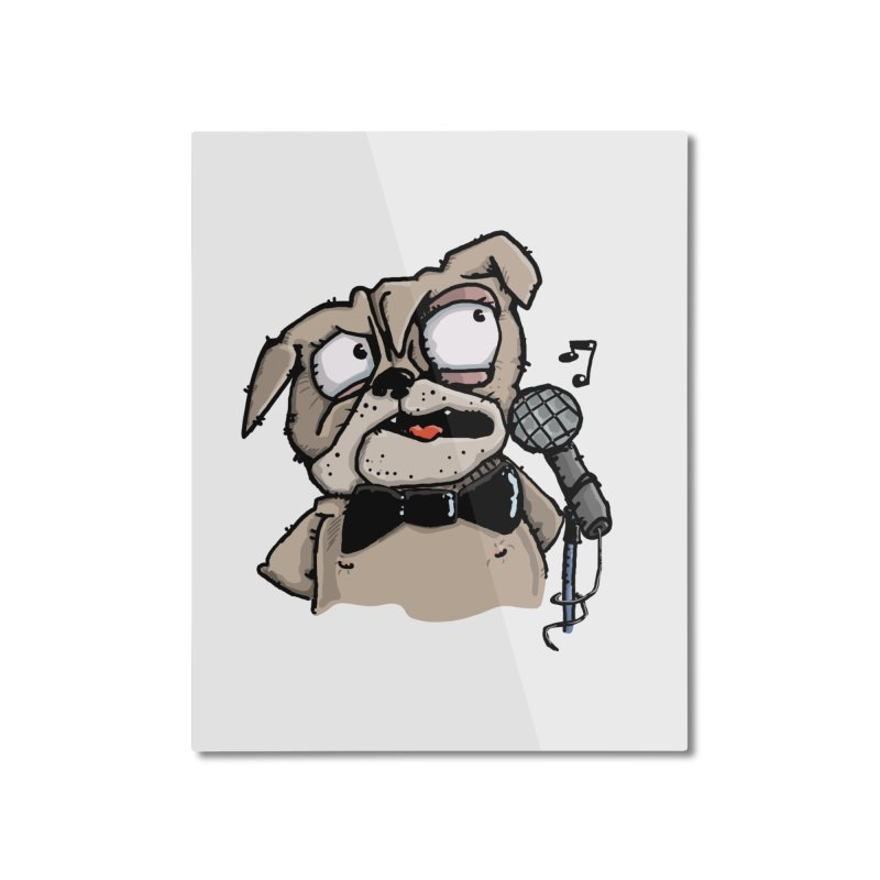 The Pug sings that old jazzy Tune. My Way in New York. Home Mounted Aluminum Print by Illustrated Madness