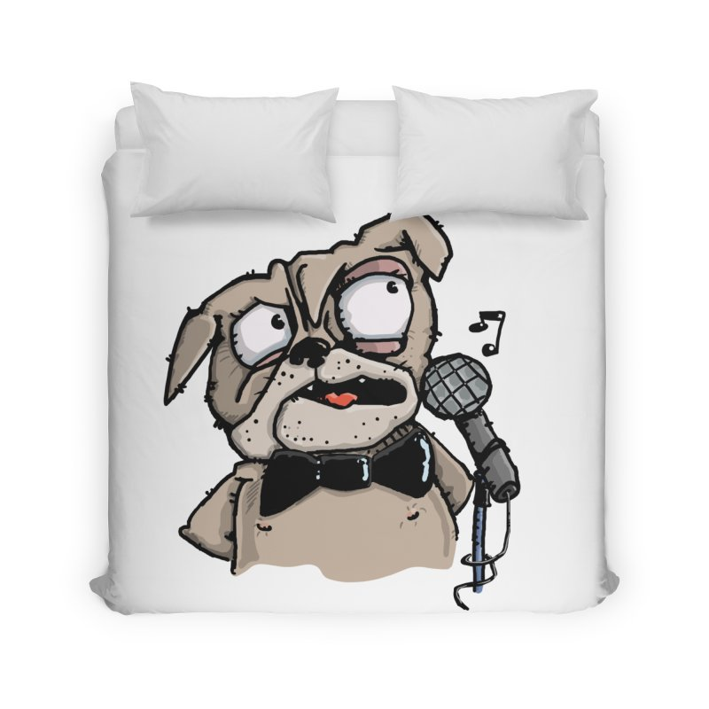 The Pug sings that old jazzy Tune. My Way in New York. Home Duvet by Illustrated Madness