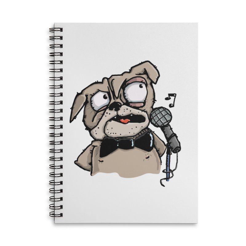 The Pug sings that old jazzy Tune. My Way in New York. Accessories Lined Spiral Notebook by Illustrated Madness