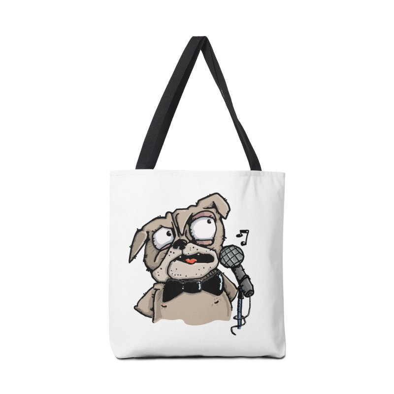 The Pug sings that old jazzy Tune. My Way in New York. Accessories Bag by Illustrated Madness