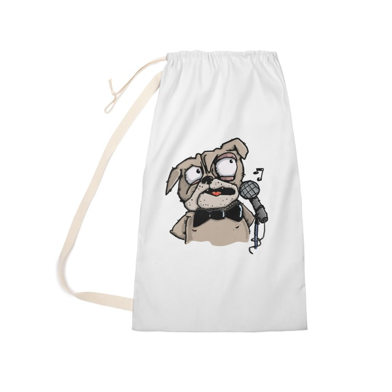 The Pug sings that old jazzy Tune. My Way in New York. Accessories Laundry Bag Bag by Illustrated Madness