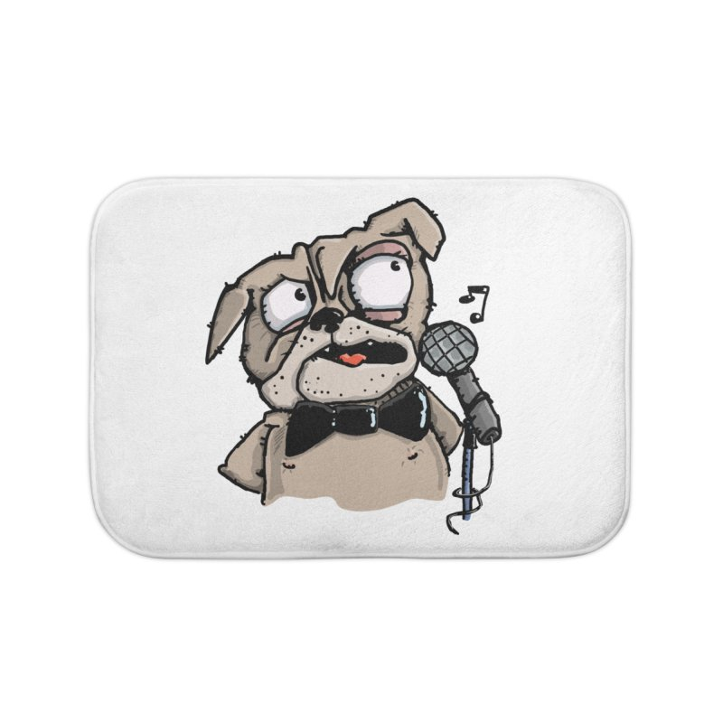 The Pug sings that old jazzy Tune. My Way in New York. Home Bath Mat by Illustrated Madness