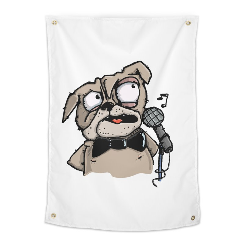 The Pug sings that old jazzy Tune. My Way in New York. Home Tapestry by Illustrated Madness