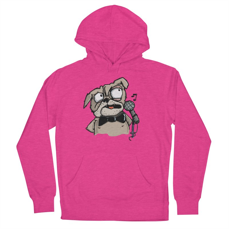 The Pug sings that old jazzy Tune. My Way in New York. Women's Pullover Hoody by Illustrated Madness