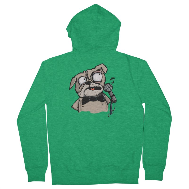 The Pug sings that old jazzy Tune. My Way in New York. Women's Zip-Up Hoody by Illustrated Madness