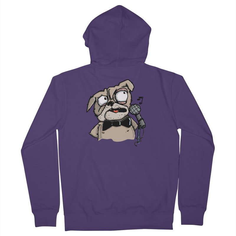 The Pug sings that old jazzy Tune. My Way in New York. Women's French Terry Zip-Up Hoody by Illustrated Madness