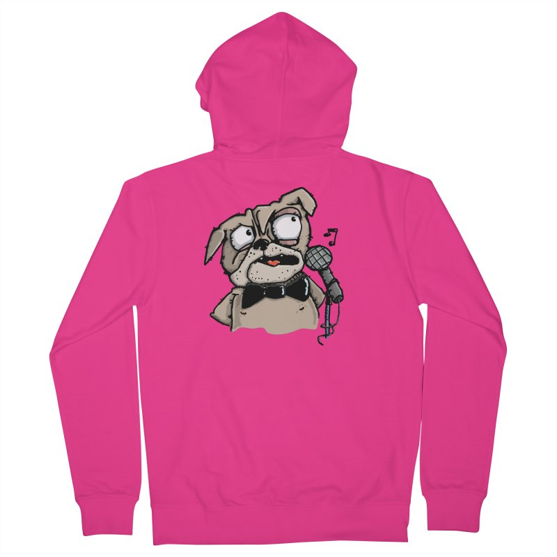 The Pug sings that old jazzy Tune. My Way in New York. Men's French Terry Zip-Up Hoody by Illustrated Madness
