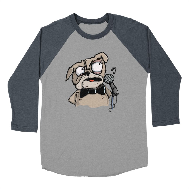 The Pug sings that old jazzy Tune. My Way in New York. Men's Baseball Triblend Longsleeve T-Shirt by Illustrated Madness