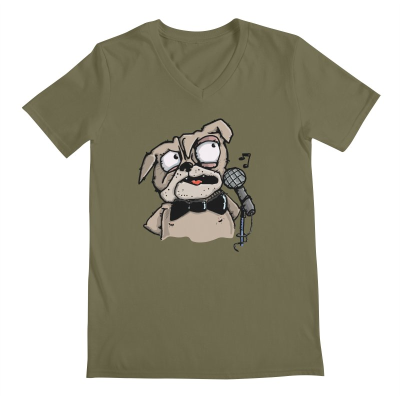 The Pug sings that old jazzy Tune. My Way in New York. Men's Regular V-Neck by Illustrated Madness
