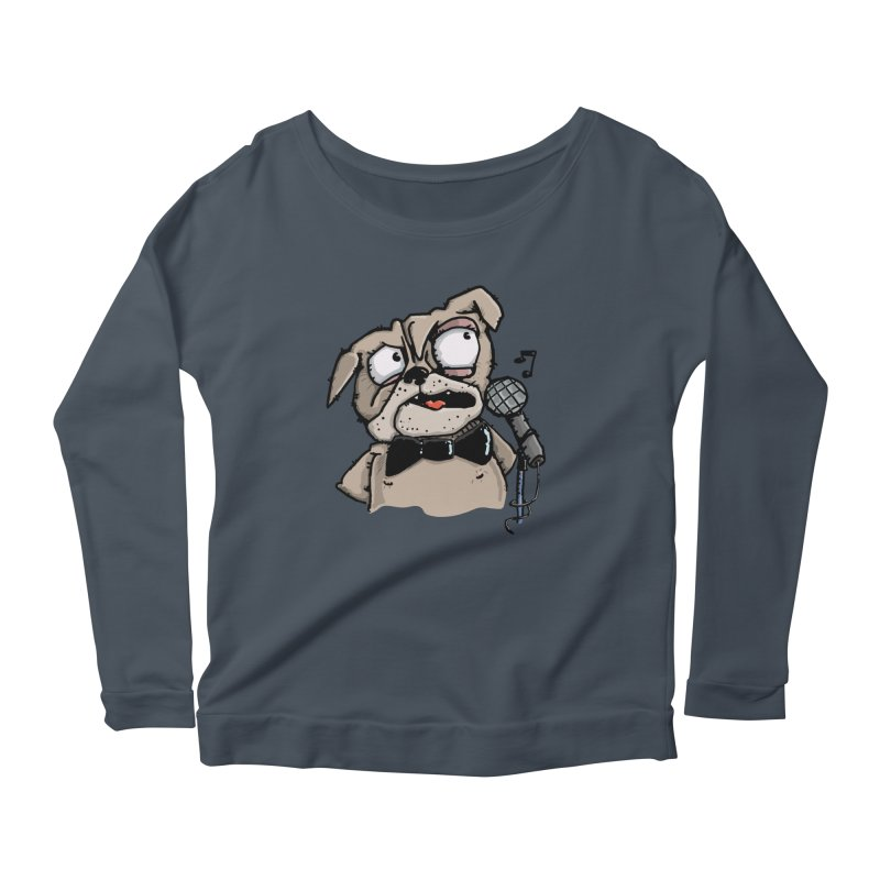The Pugs sings that old jazzy Tune. My Way in New York. Women's Scoop Neck Longsleeve T-Shirt by Illustrated Madness
