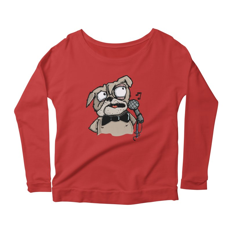 The Pugs sings that old jazzy Tune. My Way in New York. Women's Longsleeve Scoopneck  by Illustrated Madness