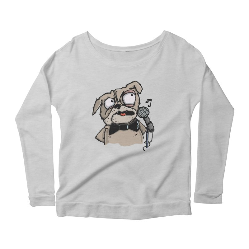 The Pug sings that old jazzy Tune. My Way in New York. Women's Scoop Neck Longsleeve T-Shirt by Illustrated Madness