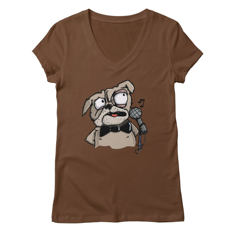 The Pug sings that old jazzy Tune. My Way in New York. Women's Regular V-Neck by Illustrated Madness