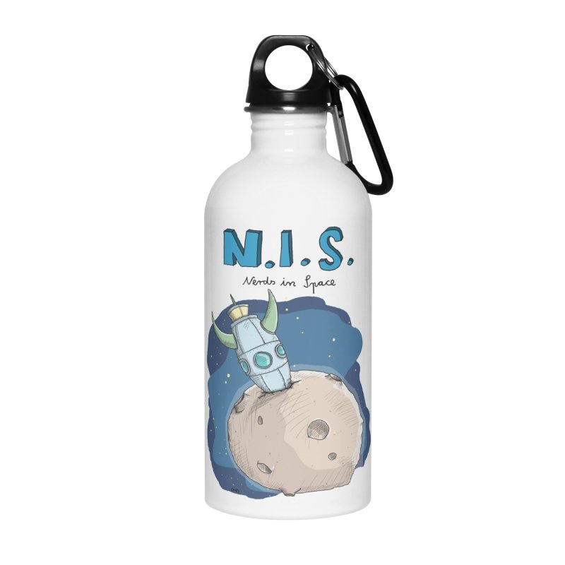 Nerds in Space. Is there intelligent Life in the Universe? Accessories Water Bottle by Illustrated Madness