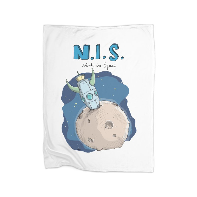 Nerds in Space. Is there intelligent Life in the Universe? Home Fleece Blanket Blanket by Illustrated Madness