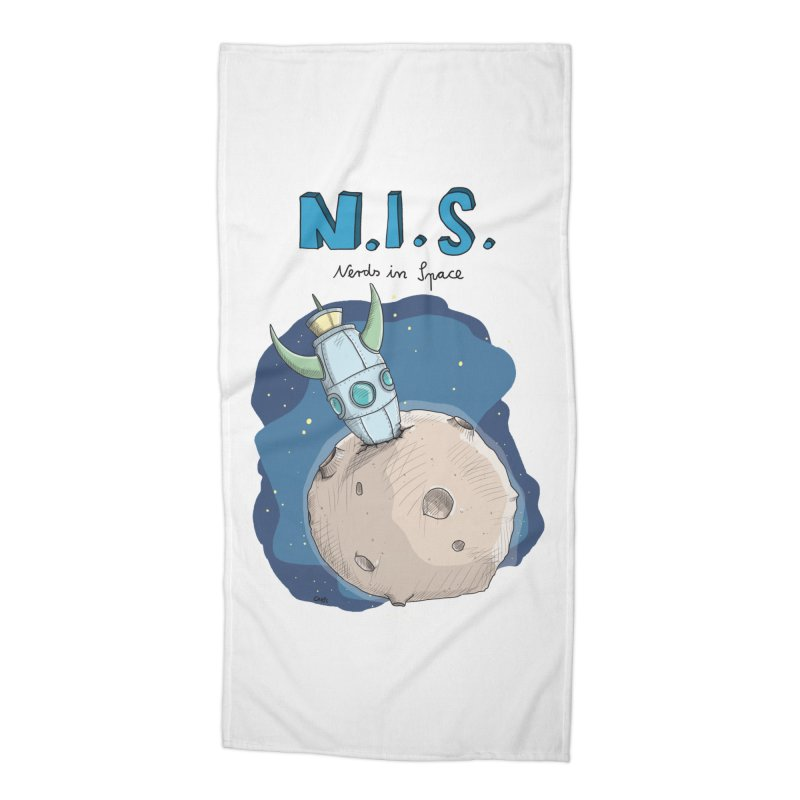 Nerds in Space. Is there intelligent Life in the Universe? Accessories Beach Towel by Illustrated Madness