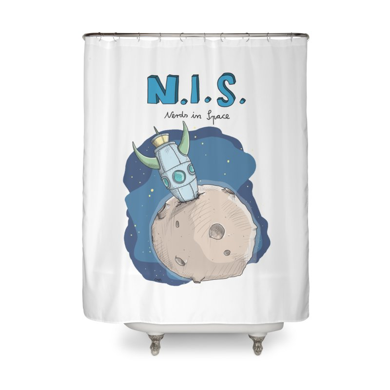 Nerds in Space. Is there intelligent Life in the Universe? Home Shower Curtain by Illustrated Madness