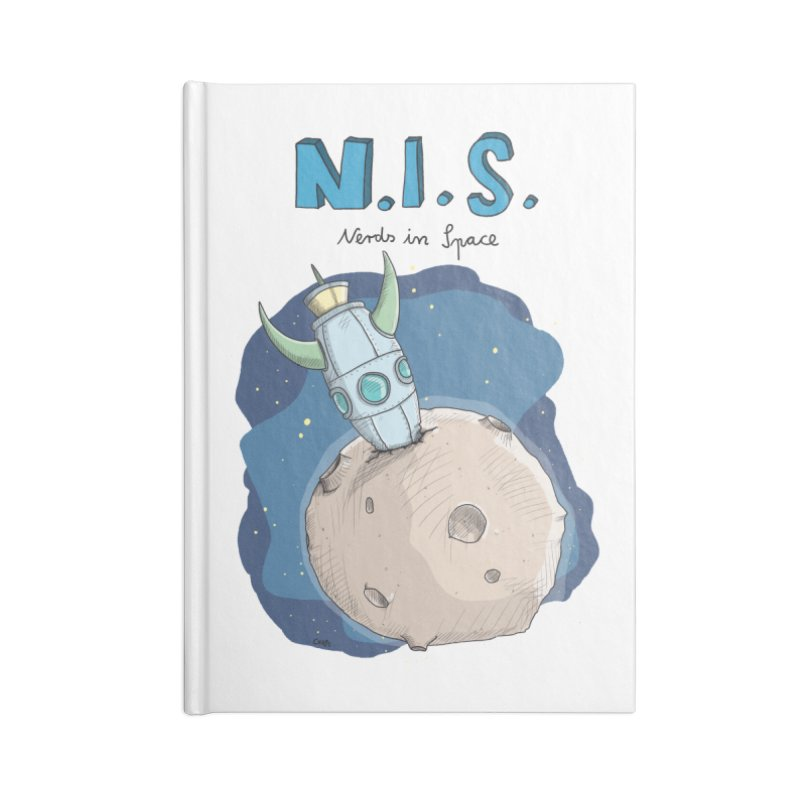 Nerds in Space. Is there intelligent Life in the Universe? Accessories Lined Journal Notebook by Illustrated Madness