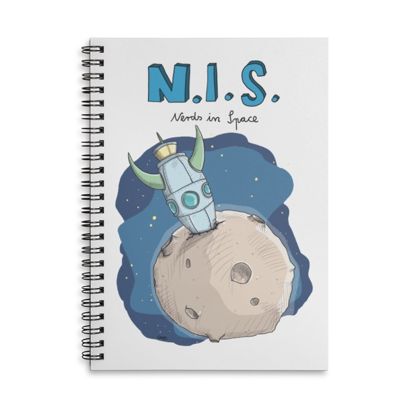 Nerds in Space. Is there intelligent Life in the Universe? Accessories Lined Spiral Notebook by Illustrated Madness