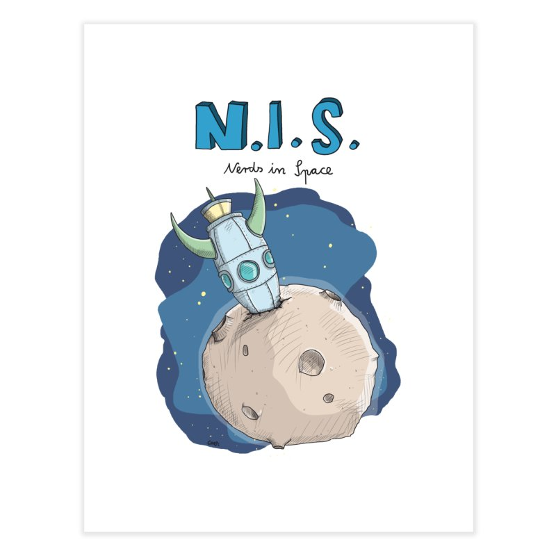 Nerds in Space. Is there intelligent Life in the Universe? Home Fine Art Print by Illustrated Madness