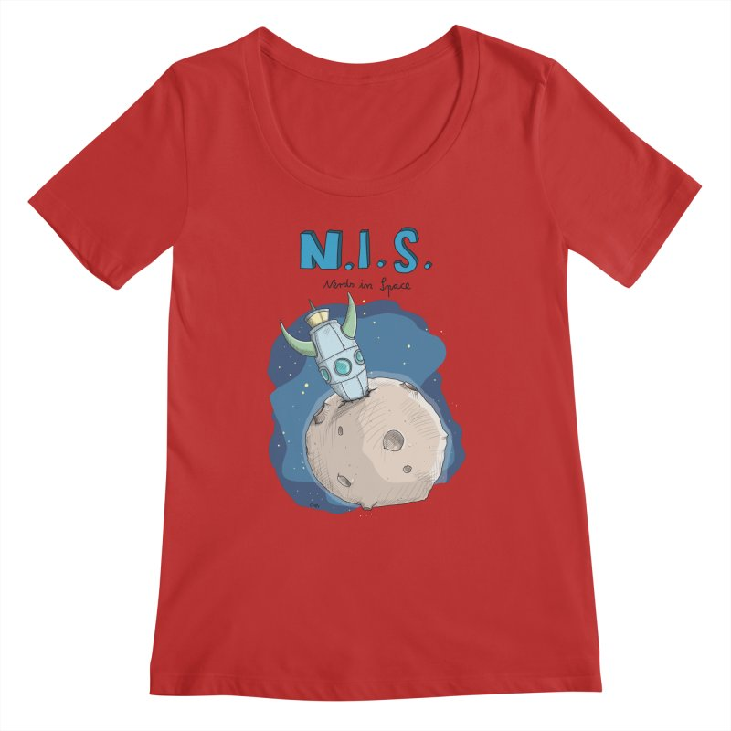 Nerds in Space. Is there intelligent Life in the Universe? Women's Regular Scoop Neck by Illustrated Madness
