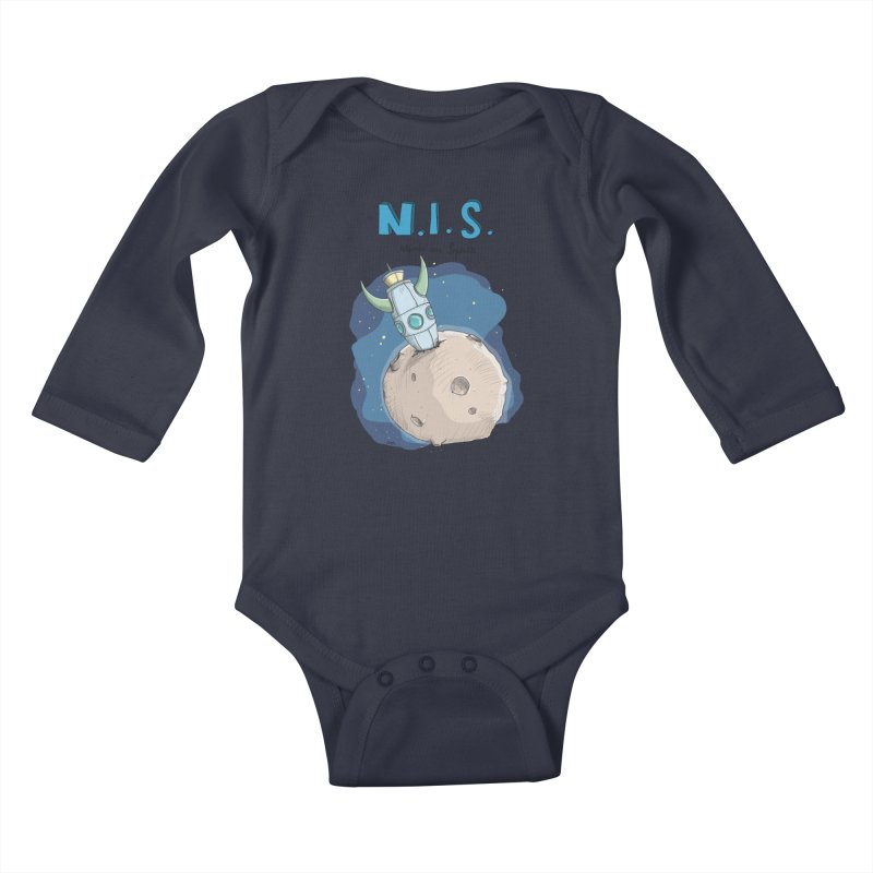 Nerds in Space. Is there intelligent Life in the Universe? Kids Baby Longsleeve Bodysuit by Illustrated Madness