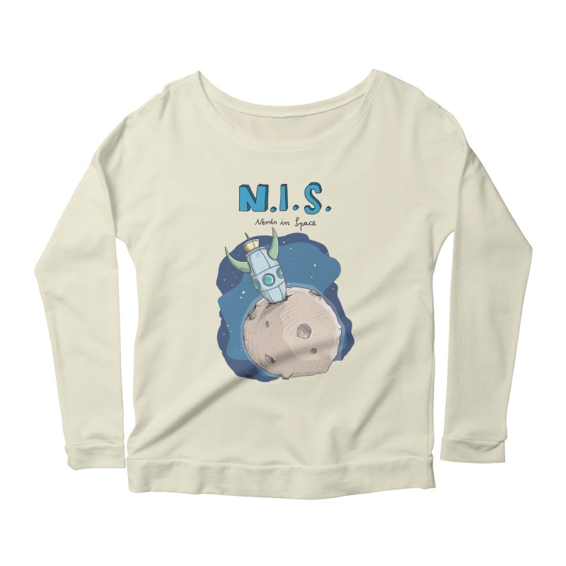 Nerds in Space. Is there intelligent Life in the Universe? Women's Scoop Neck Longsleeve T-Shirt by Illustrated Madness