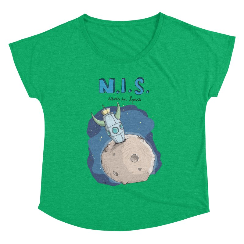 Nerds in Space. Is there intelligent Life in the Universe? Women's Dolman Scoop Neck by Illustrated Madness