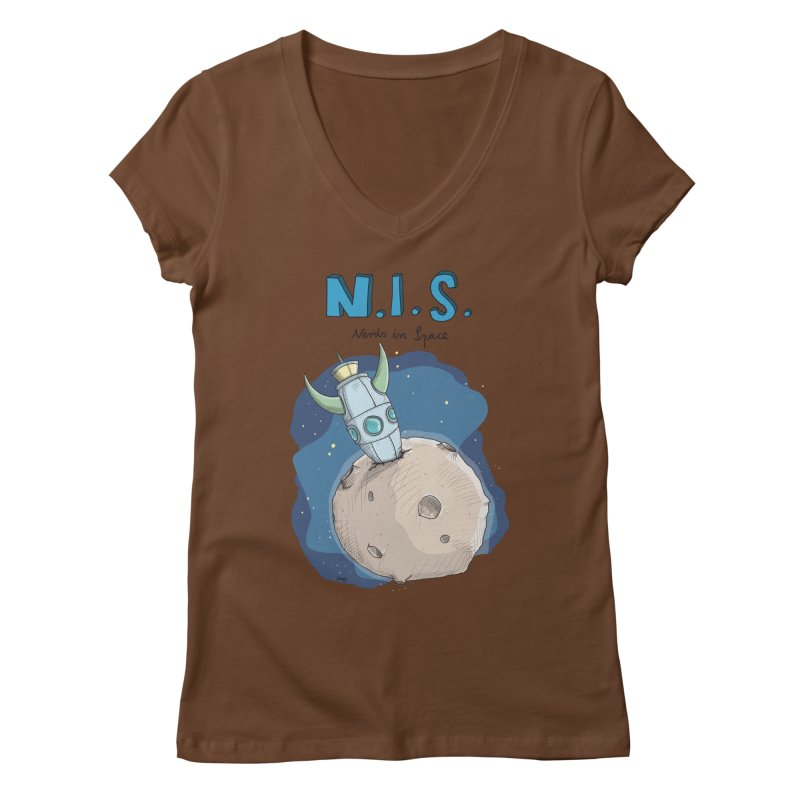 Nerds in Space. Is there intelligent Life in the Universe? Women's Regular V-Neck by Illustrated Madness