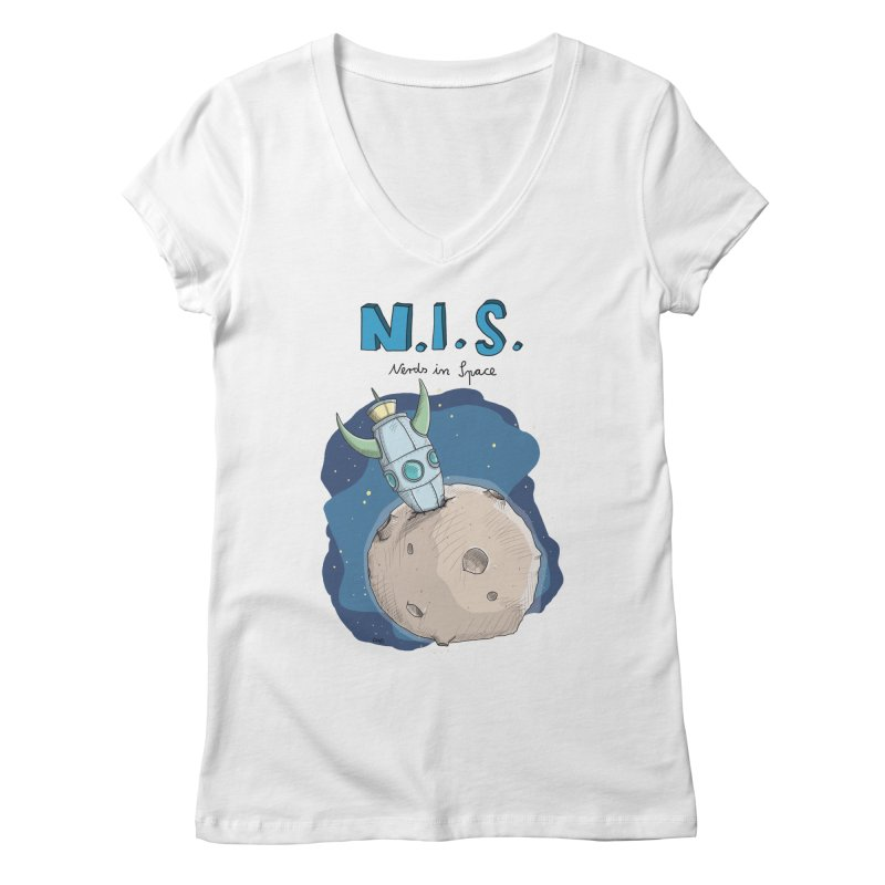 Nerds in Space. Is there intelligent Life in the Universe? Women's V-Neck by Illustrated Madness