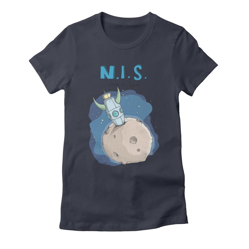 Nerds in Space. Is there intelligent Life in the Universe? Women's Fitted T-Shirt by Illustrated Madness