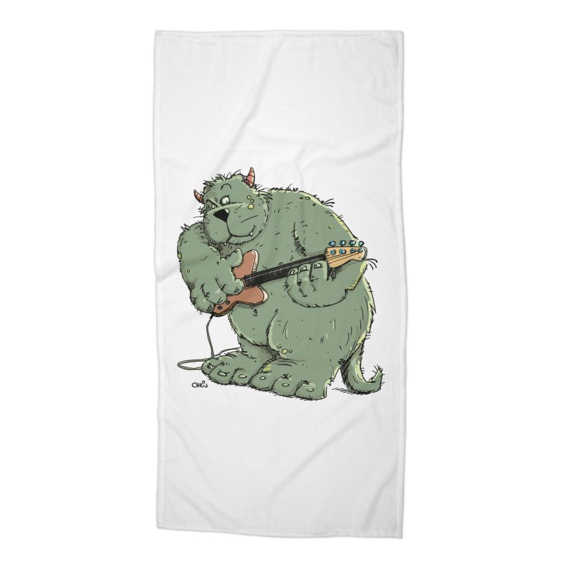 The Bassist is a real Monster Accessories Beach Towel by Illustrated Madness