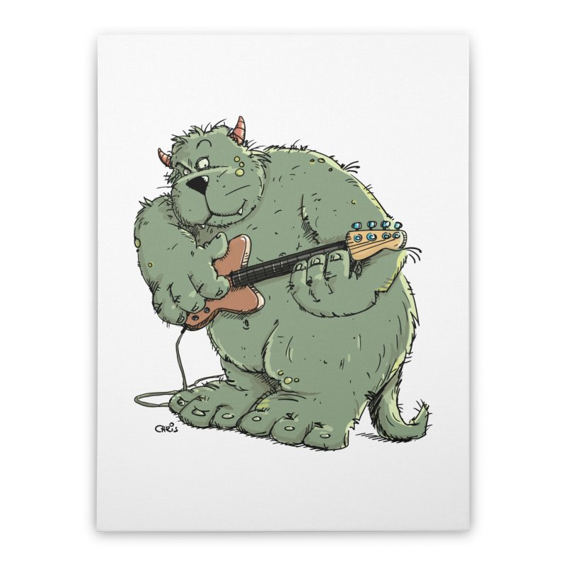 The Bassist is a real Monster Home Stretched Canvas by Illustrated Madness