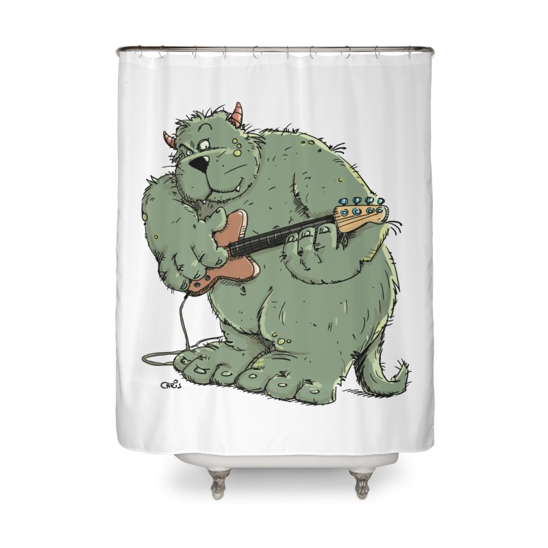 The Bassist is a real Monster Home Shower Curtain by Illustrated Madness