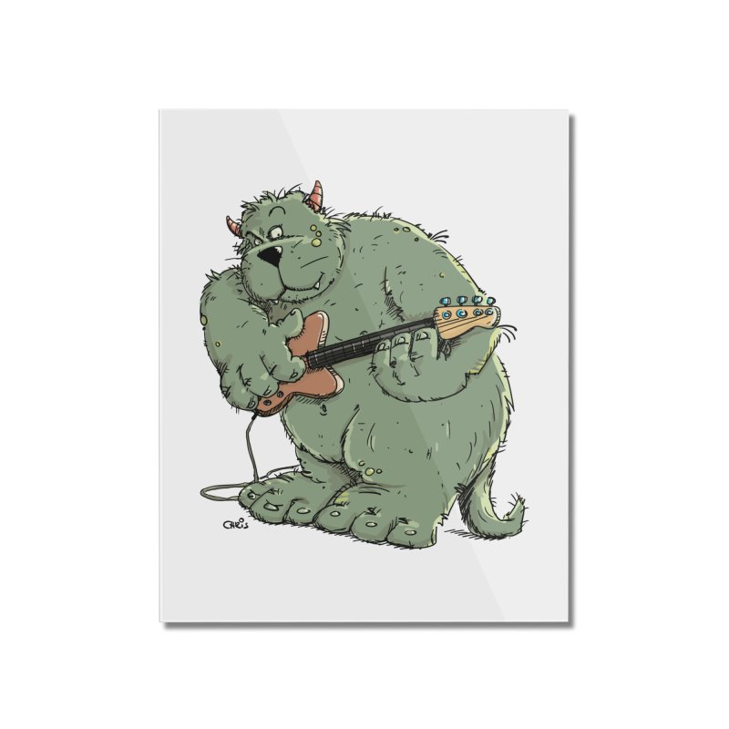 The Bassist is a real Monster Home Mounted Acrylic Print by Illustrated Madness