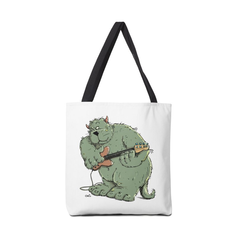 The Bassist is a real Monster Accessories Tote Bag Bag by Illustrated Madness