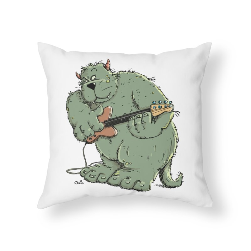 The Bassist is a real Monster Home Throw Pillow by Illustrated Madness