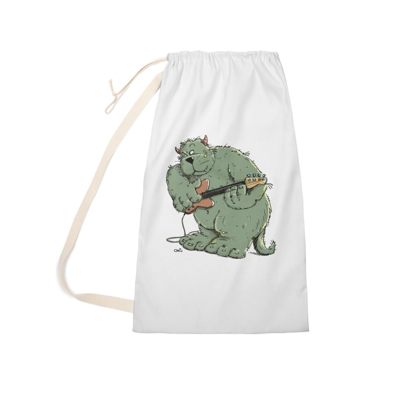 The Bassist is a real Monster Accessories Laundry Bag Bag by Illustrated Madness